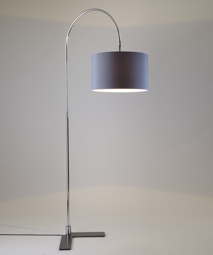 Arch floor light, a curved floor light in chrome with a gunmetal shade - Chad Lighting