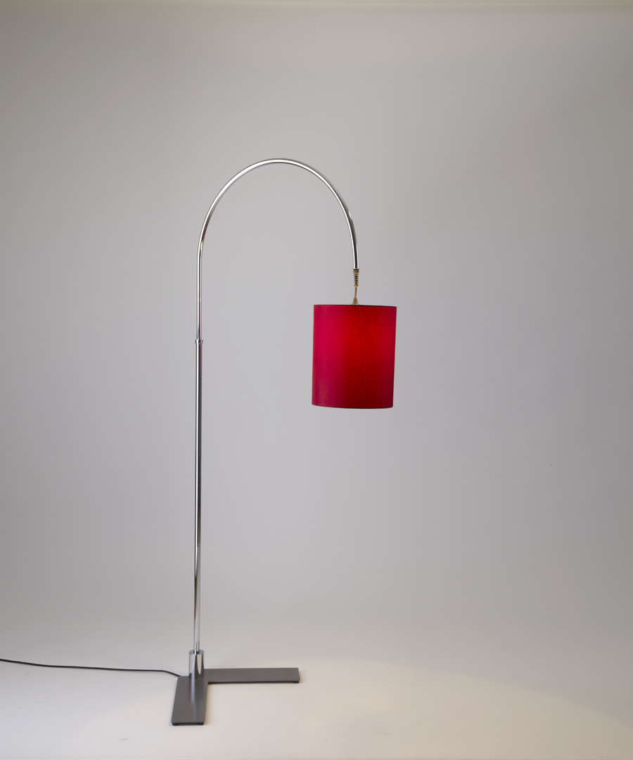 Arch floor light, a metal floor lamp with a curved arch and a red shade - Chad Lighting