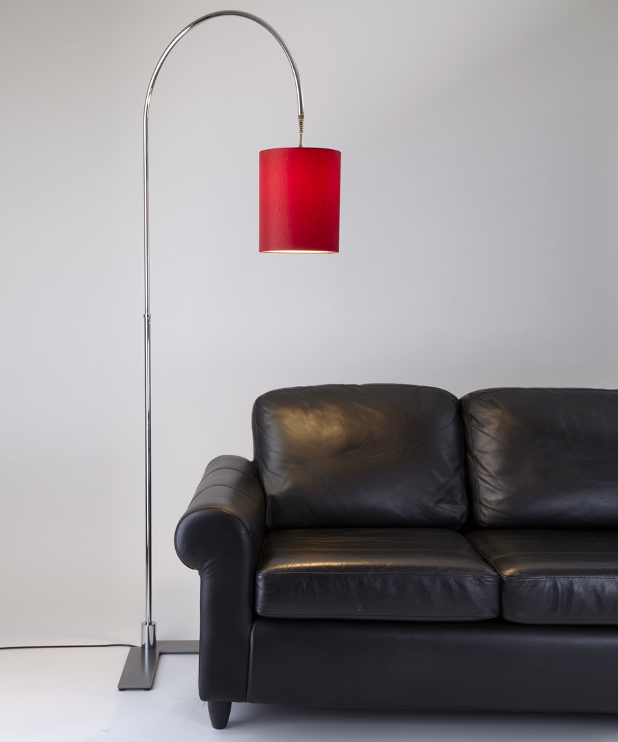 Arch floor light, a metal reading light with a red shade - Chad Lighting