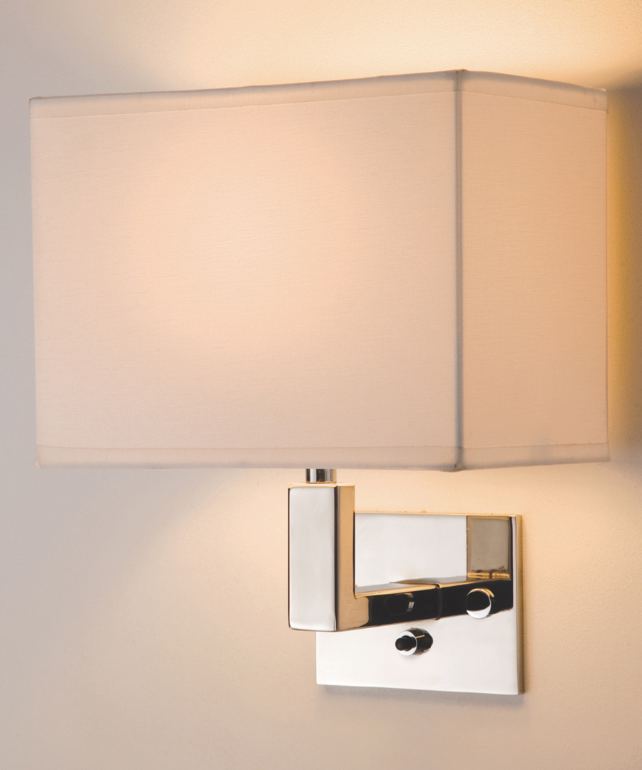 Avila wall light, a wall light in stainless steel with an ivory shade - Chad Lighting