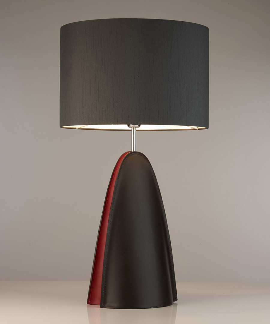 Barcelona table light, a leather table lamp with a black shade - Chad Lighting