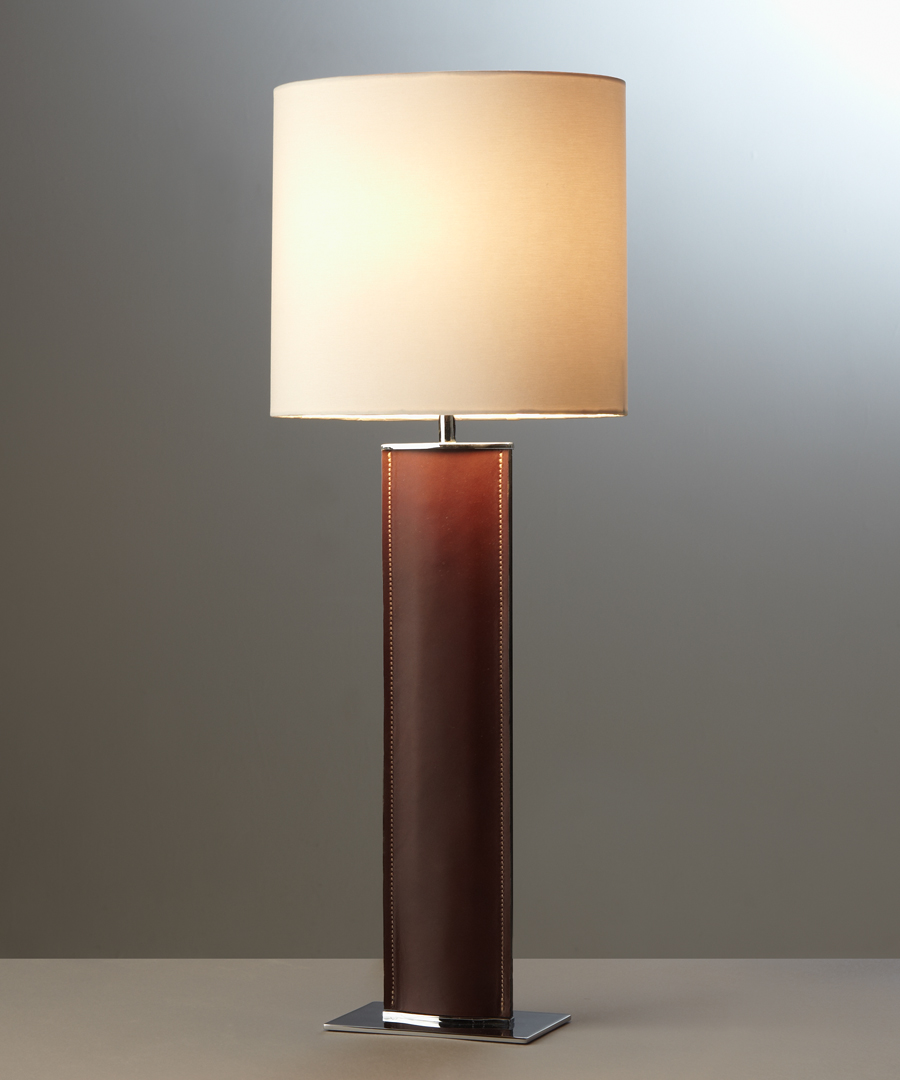 Madrid table light, tall, table lamp in brown leather with cream shade - Chad Lighting