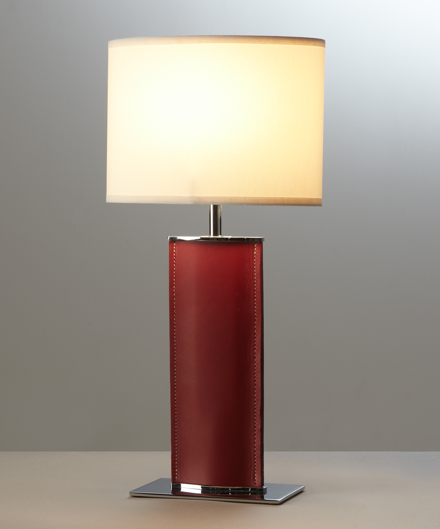 Madrid table light, short table lamp in red leather with a cream elliptical shade - Chad Lighting