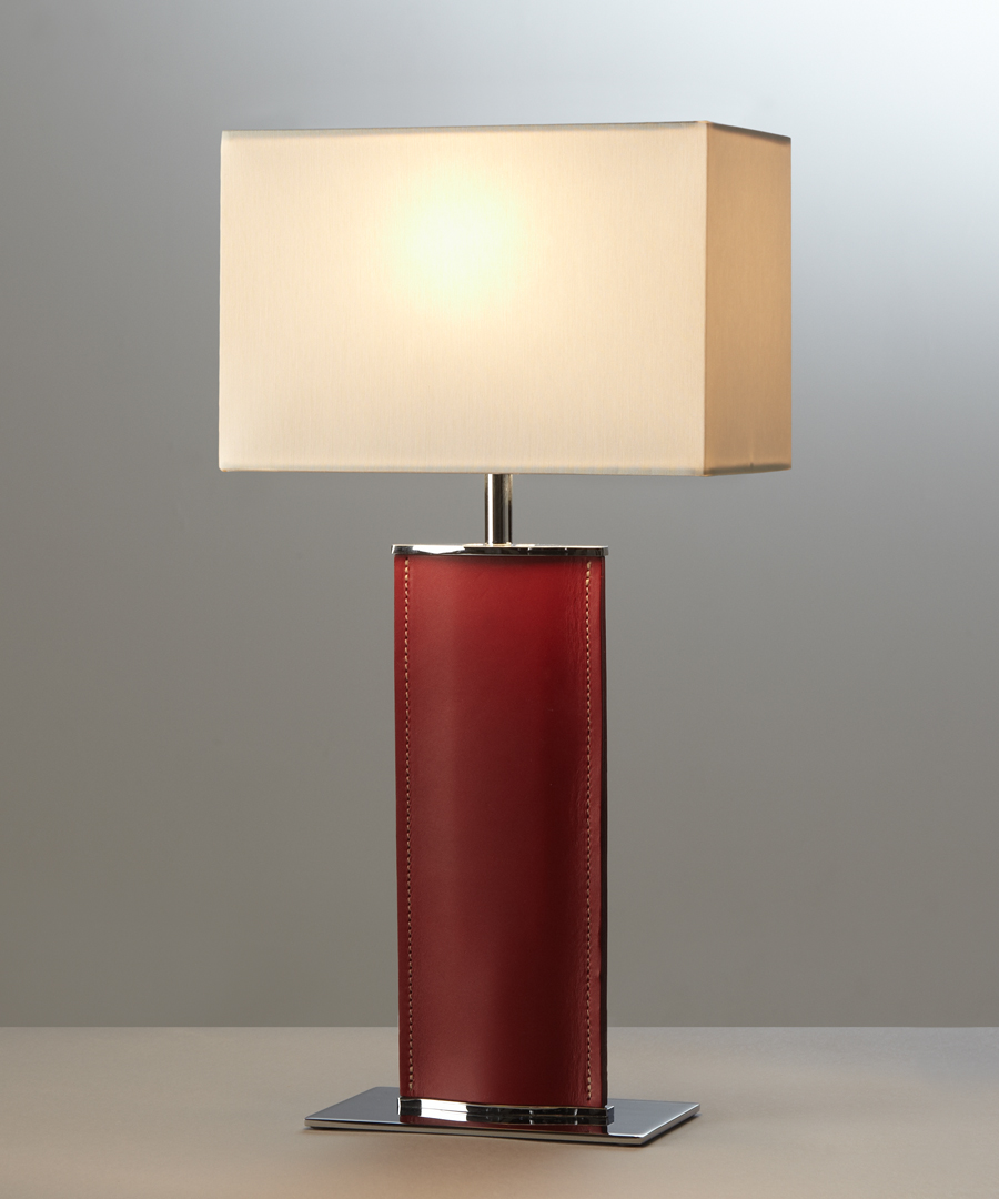Madrid table light, short, table lamp in red leather and rectangular ivory shade - Chad Lighting