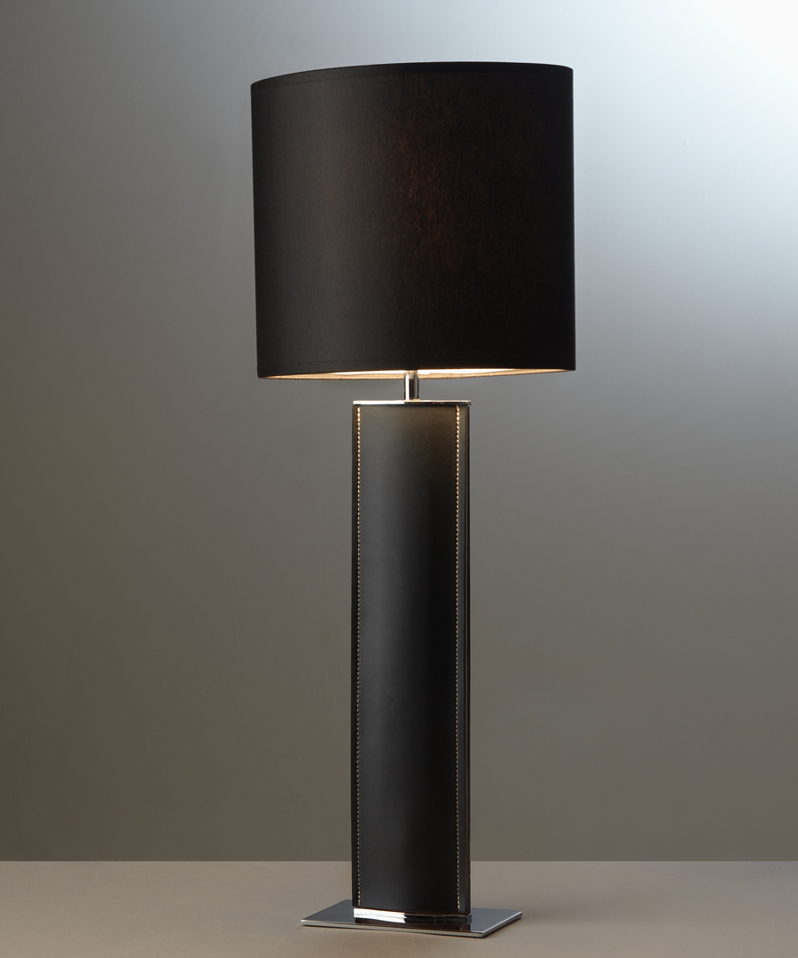 Madrid table light, tall table lamp in black leather with a black shade - Chad Lighting