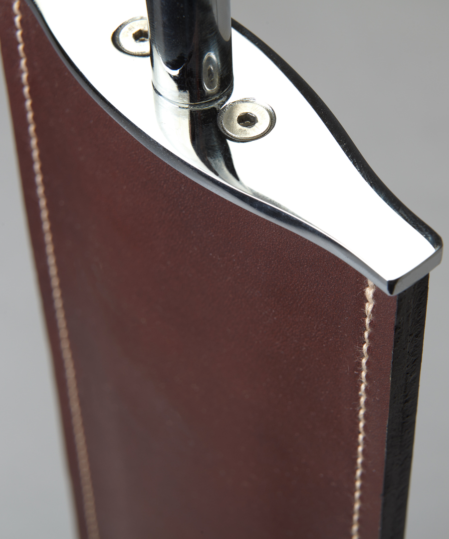 Madrid table light, close up of brown leather, stitching and chrome finish - Chad Lighting