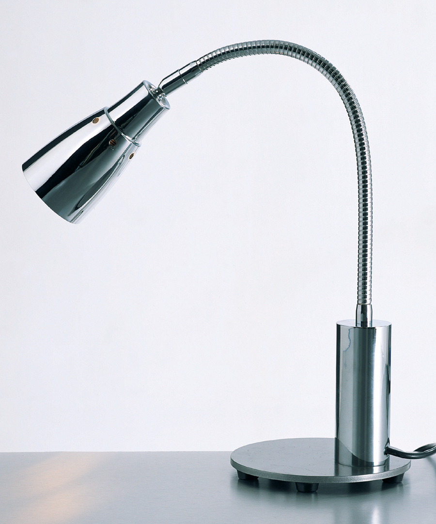 Midnight table light, chrome plated desk lamp featuring a pewter base - Chad Lighting