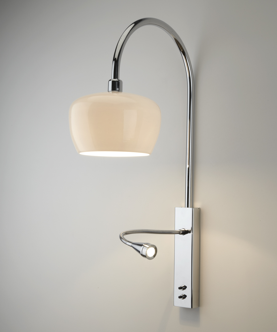 Morning wall light, with an ivory, bone china shade and an LED reading light - Chad Lighting