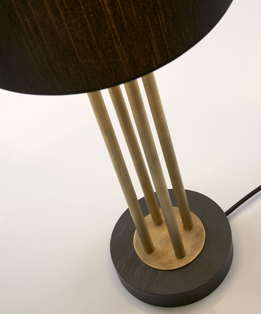 Naxos table light, detail shot of table lamp, welsh slate base and antique brass columns - Chad Lighting