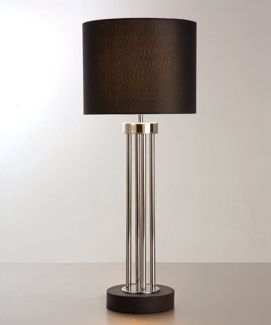 Naxos table light, tall table lamp featuring a stone base and columns in polished stainless steel - Chad Lighting