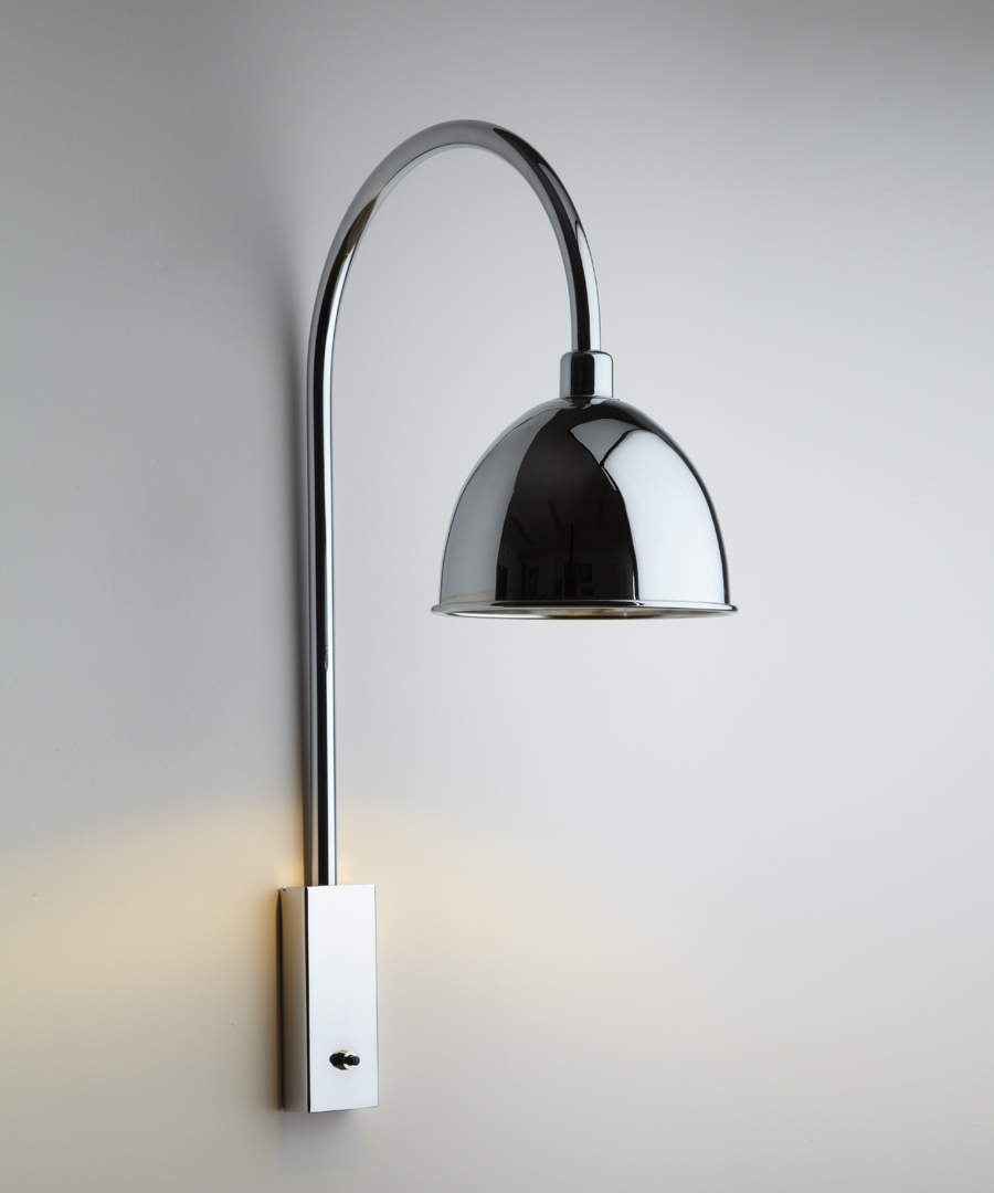 Pablo wall light, with arched stem and chrome cowl