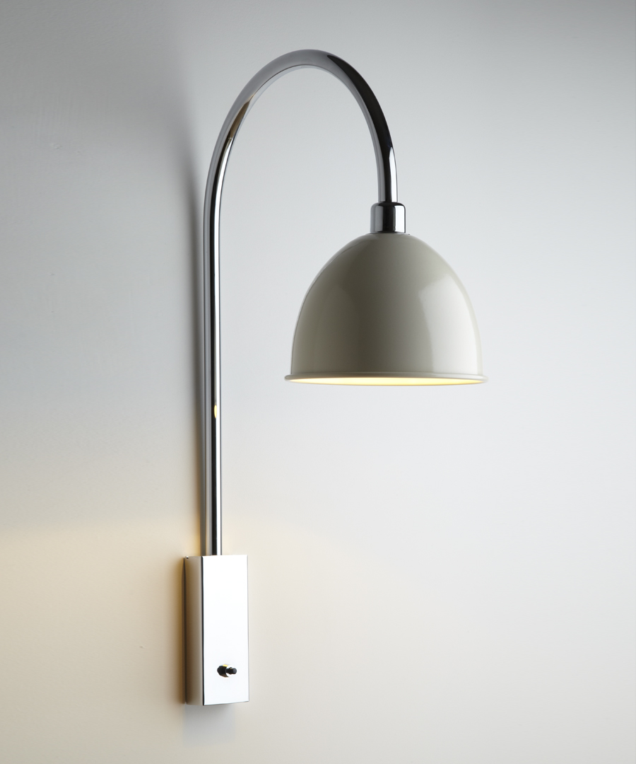 Pablo wall light, with arched stem and ivory cowl