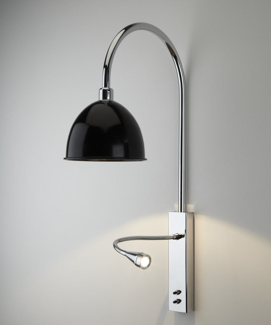 Pablo wall light, with arched stem, LED reading light and black cowl