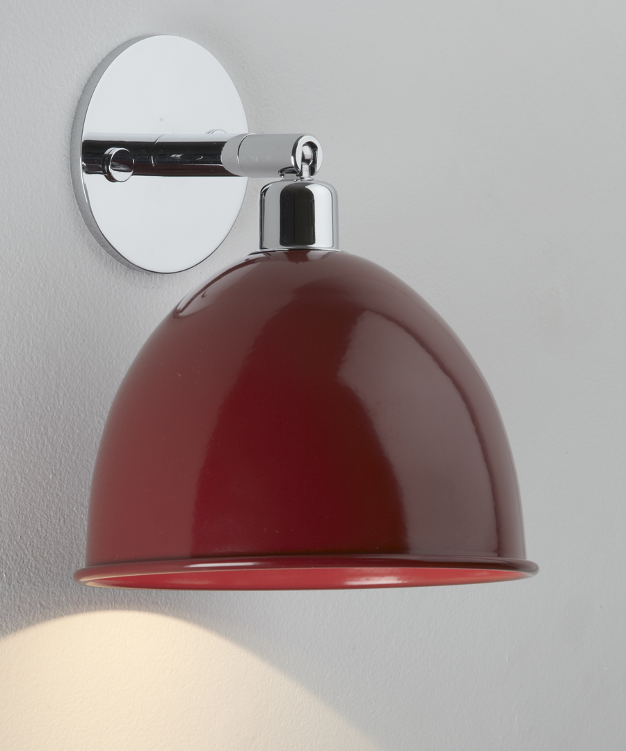 Pablo wall light, with round disk and red cowl