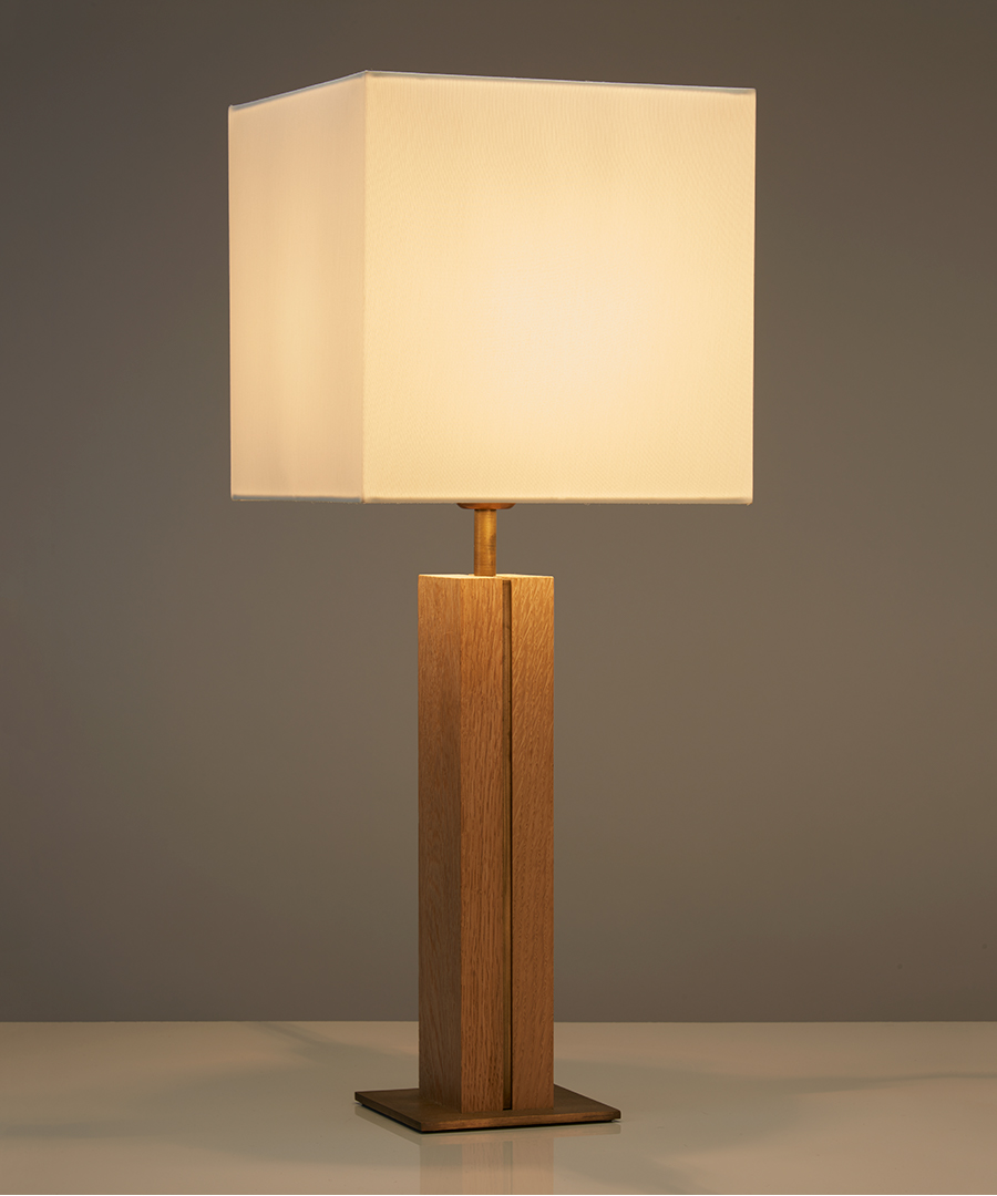 Panino table light, table lamp featuring oak and antique brass with a square ivory shade