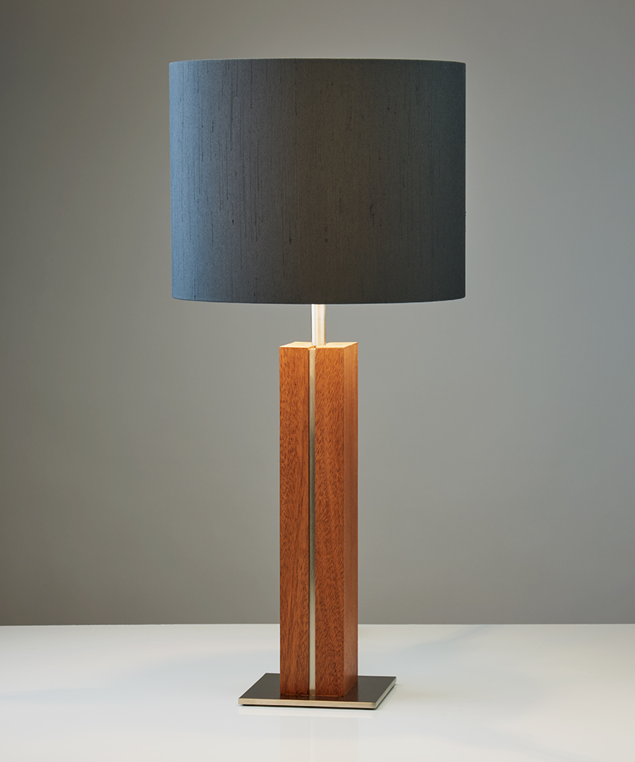 Panino table light, table lamp featuring walnut and brushed nickel with a round black shade