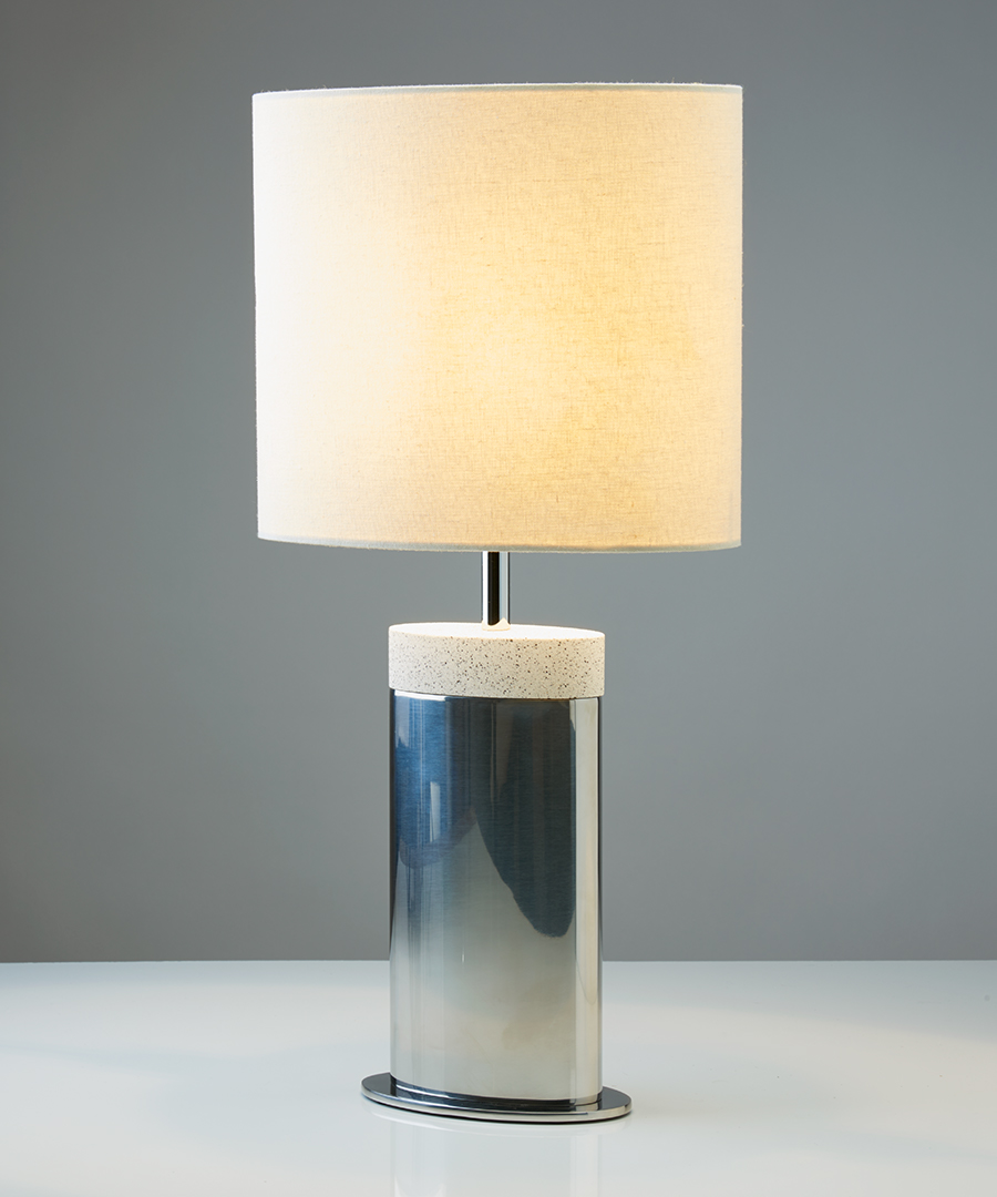 Miami table light, table lamp in stainless steel and light sand top with calico shade - Chad Lighting