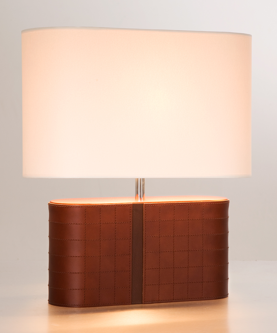 Atlantic table light, a brown lamp with a cream shade - Chad Lighting