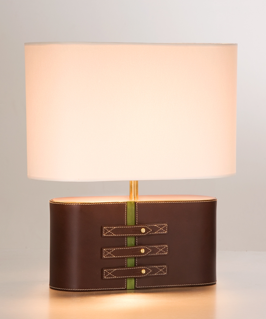 Atlantic table light, a leather light with an elliptical shade - Chad Lighting