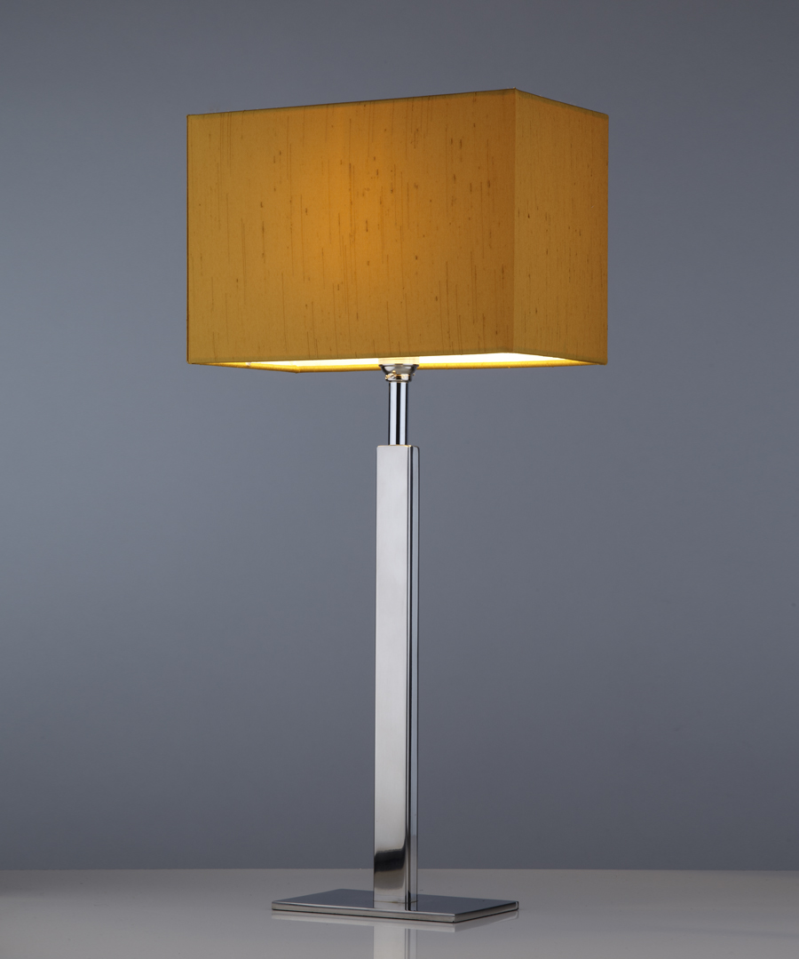 Avila table light, a bedside light in stainless steel with a gold shade - Chad Lighting