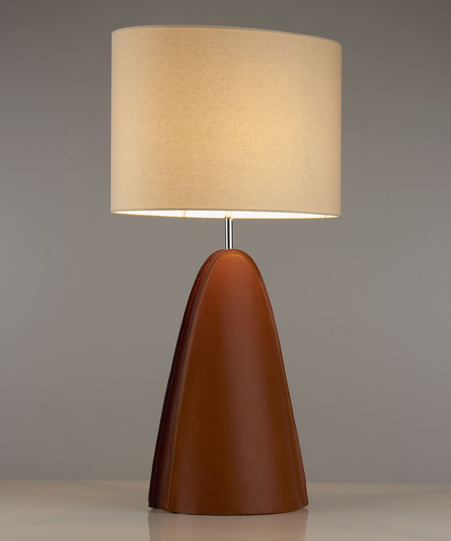 Barcelona table light, a table light in leather with a cylindrical shade - Chad Lighting