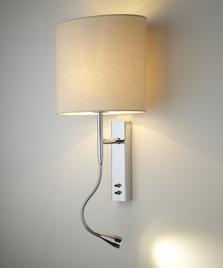 Brenta wall light, bedside wall and LED reading light in chrome plated steel with a cream elliptical shade - Chad Lighting
