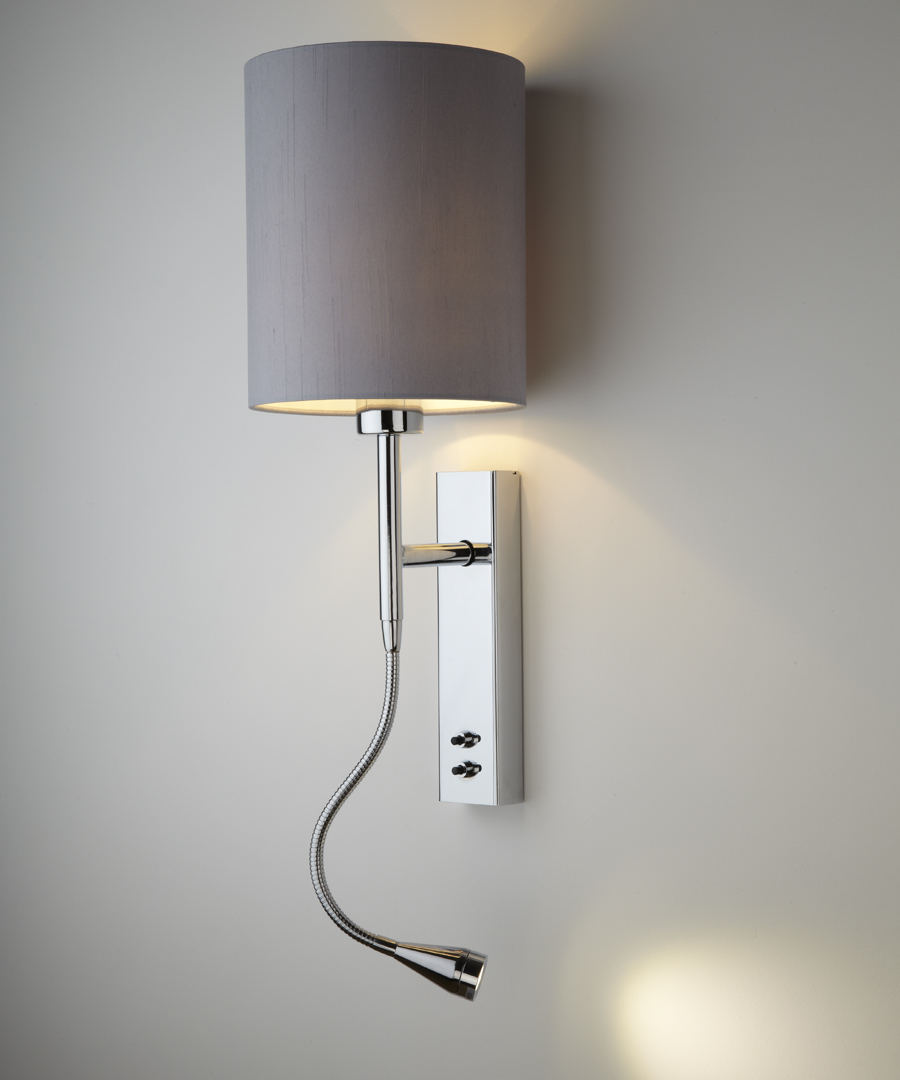 Brenta wall light, bedside wall and LED reading light in chrome plated steel with a gunmetal shade - Chad Lighting