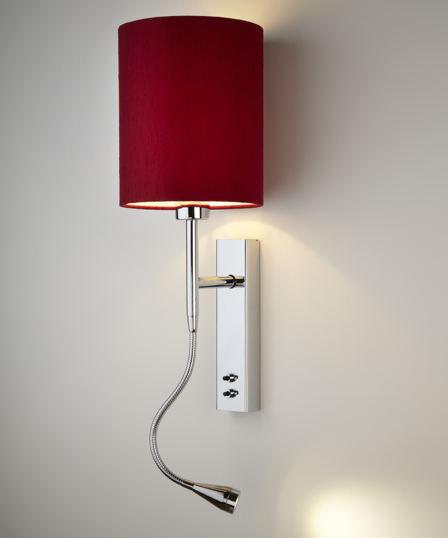 Brenta wall light, bedside wall and LED reading light in chrome plated steel with a red shade - Chad Lighting
