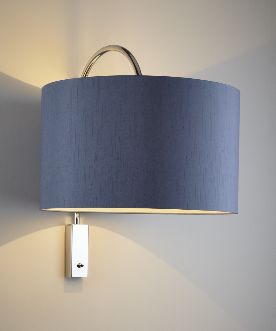 Bruges wall light, distinctive arched stem in chrome with a large blue shade - Chad Lighting
