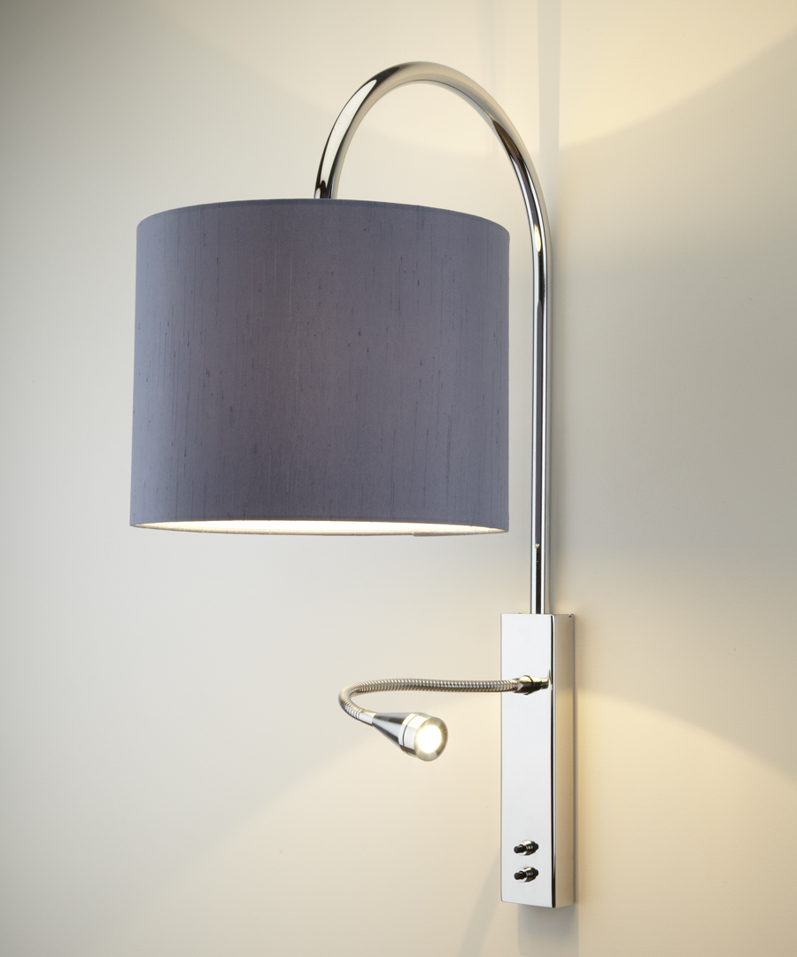 Bruges wall light, distinctive arched stem and LED reading light in chrome with a gunmetal shade - Chad Lighting