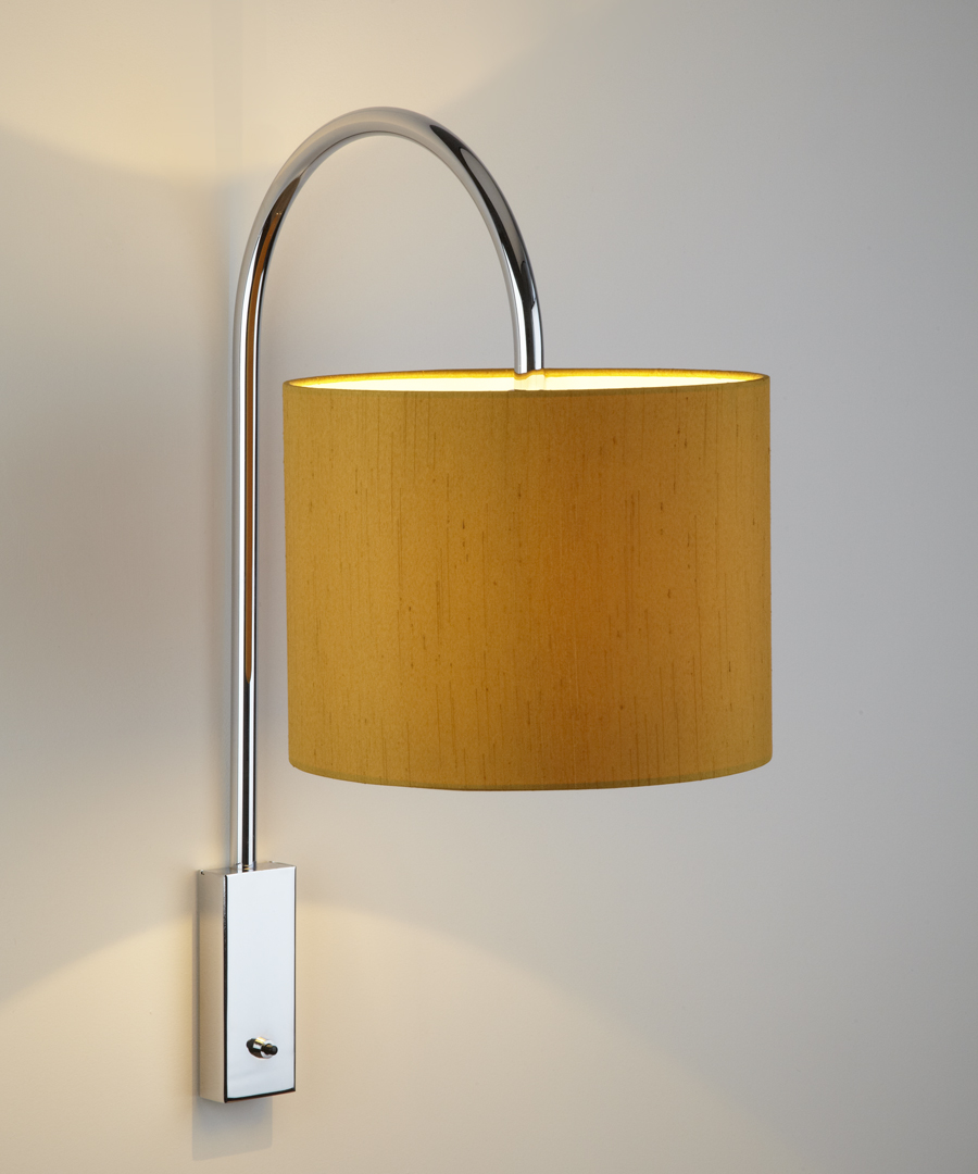 Bruges wall light, distinctive arched stem in chrome with a small gold shade - Chad Lighting