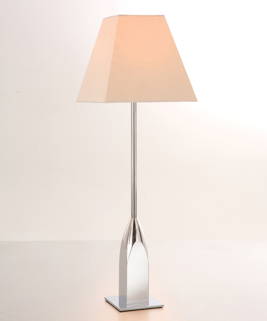 Chrysler table light, tall table lamp in polished aluminium and chrome - Chad Lighting