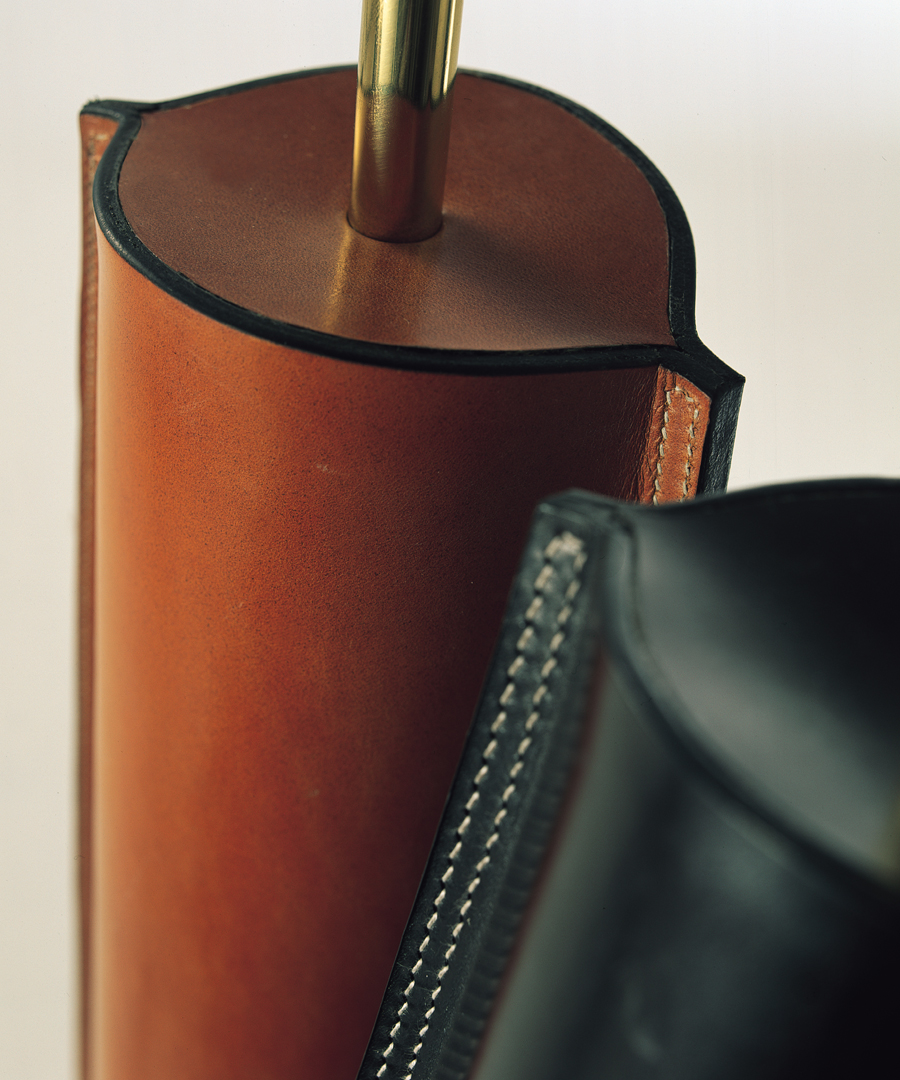 Cordoba table light, close-up of table lamps in Leather - warm tan and dark tan - Chad Lighting