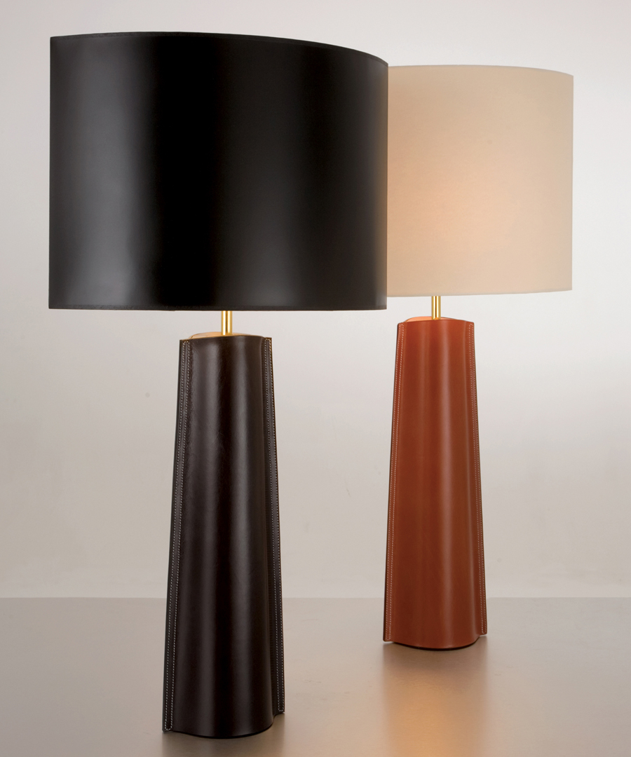 Cordoba table light, pair of tall table lamps in Leather - warm tan and dark tan - Chad Lighting
