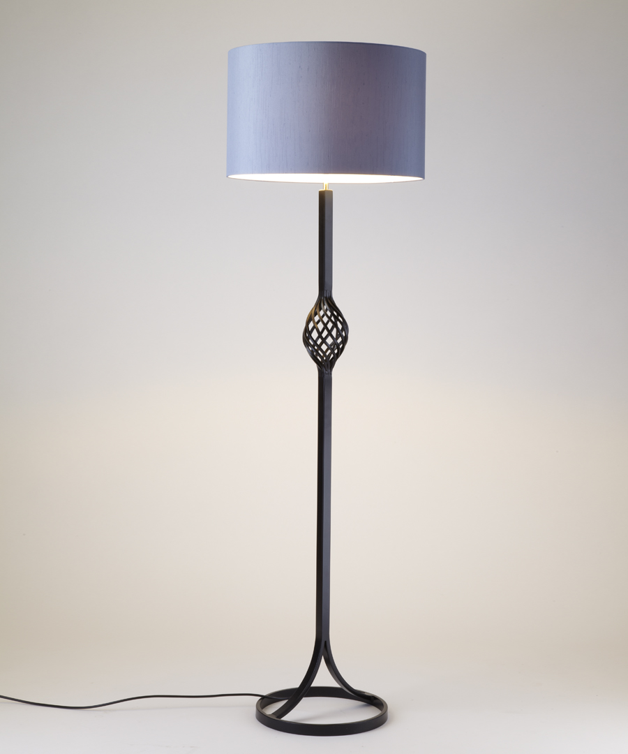Dryad floor light, steel floor lamp with epoxy coating featuring a spherical cage - Chad Lighting