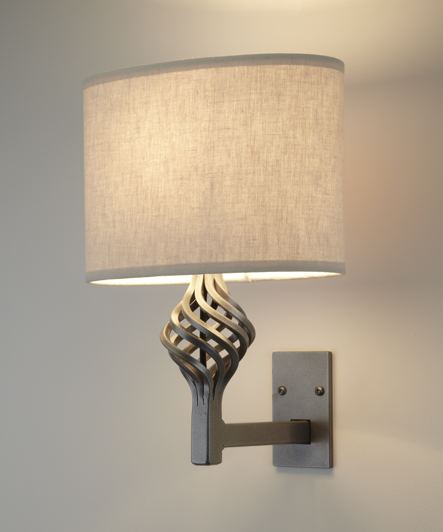 Dryad wall light, steel wall light with epoxy coating featuring a spherical cage with an elliptical shade - Chad Lighting