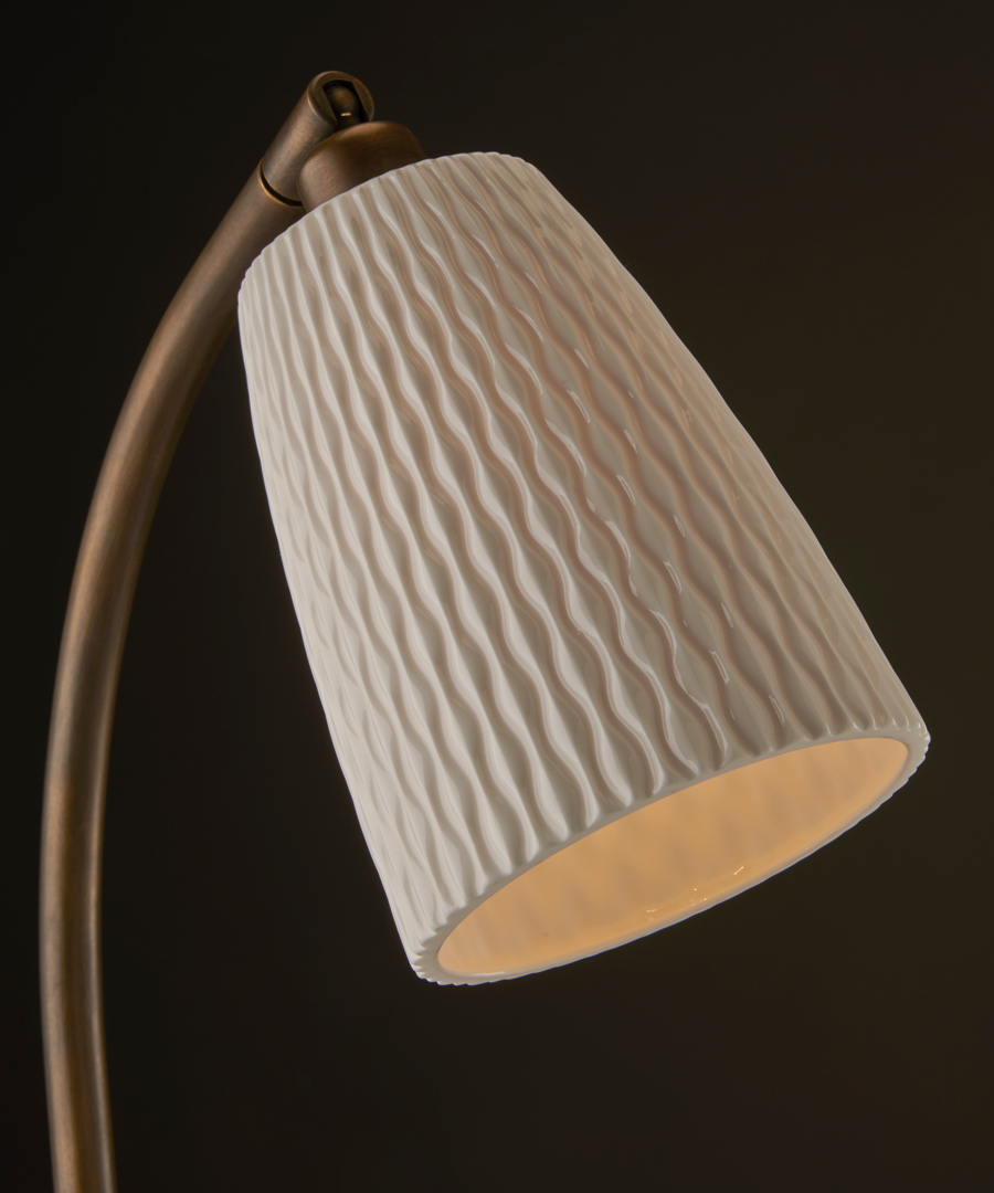 Evening Table Light - Detail shot of Bone China shade and Antique Brass Stem - Chad Lighting