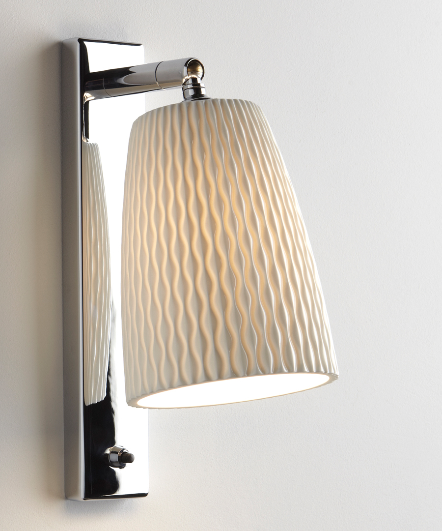Evening wall light, bedroom wall light in bone china with a chrome base - Chad Lighting
