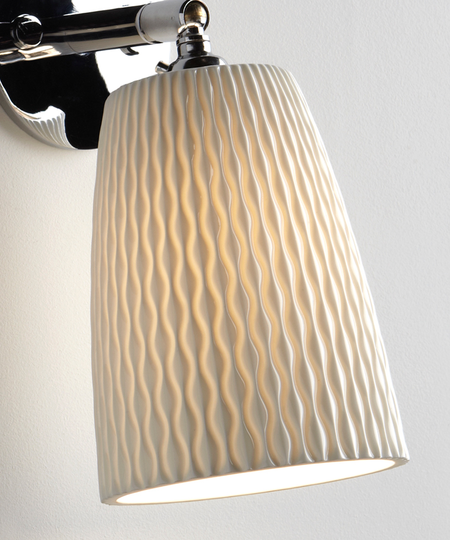 Evening wall light, close up of the patterned bone china shade - Chad Lighting