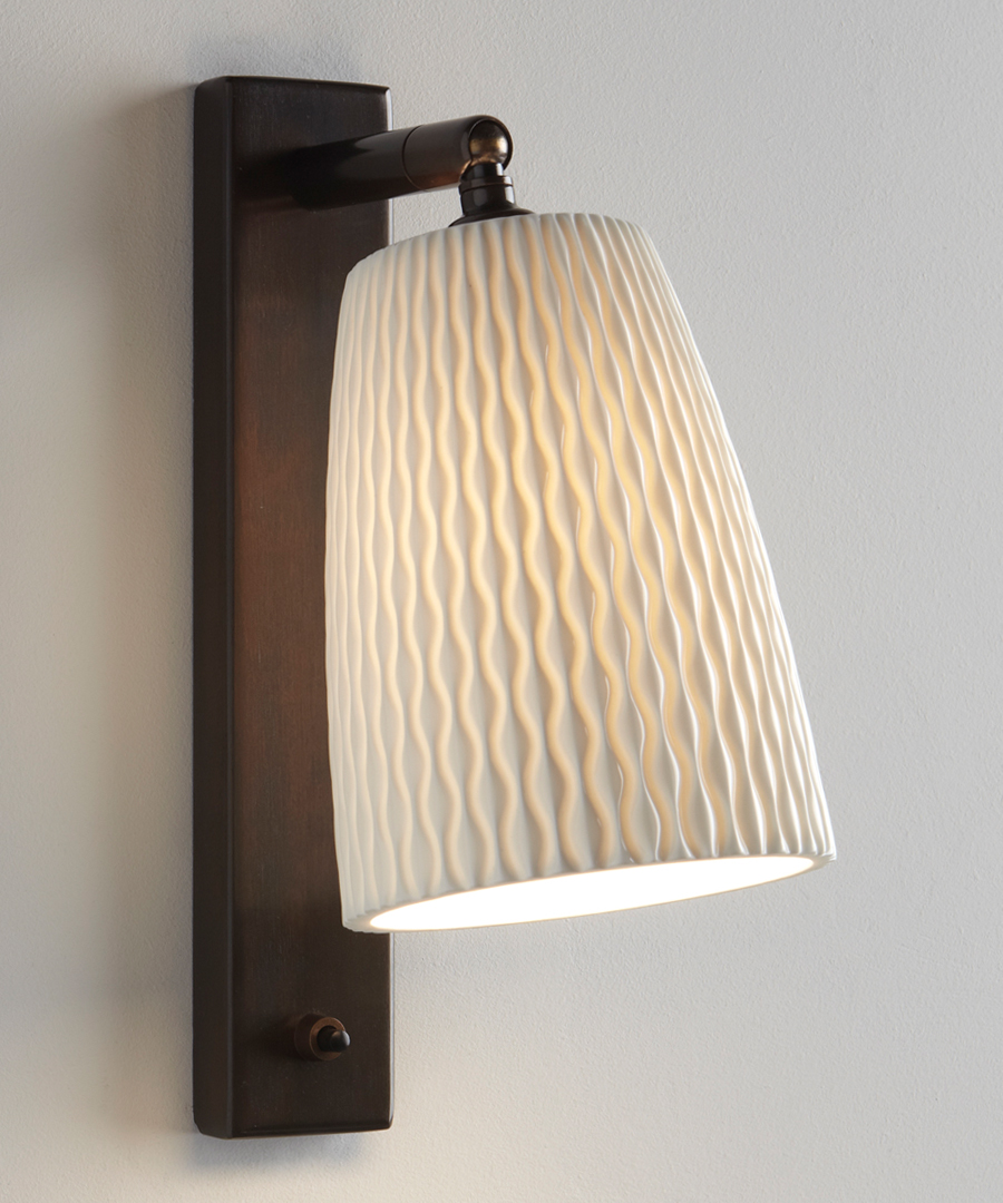 Evening wall light, bedroom wall light in bone china with a bronze epoxy coated base - Chad Lighting