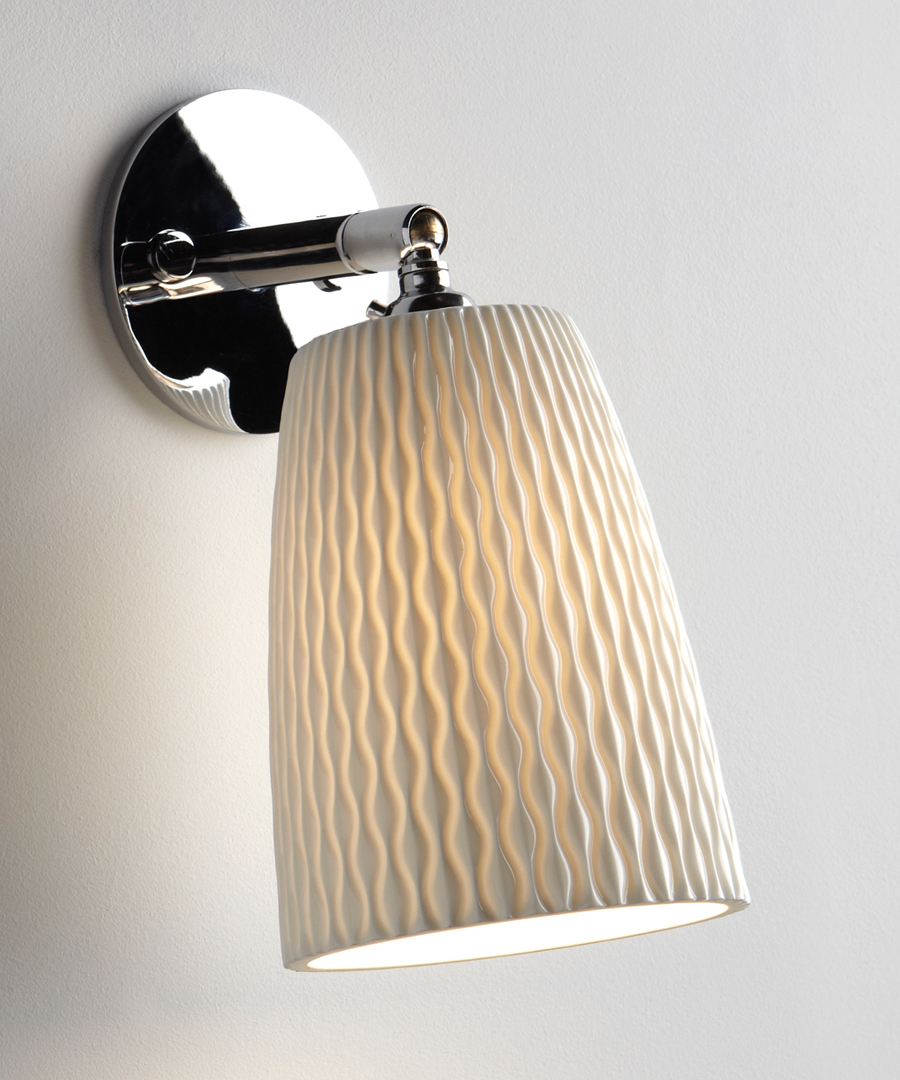 Evening wall light, bedroom wall light in bone china with a round metal bracket - Chad Lighting
