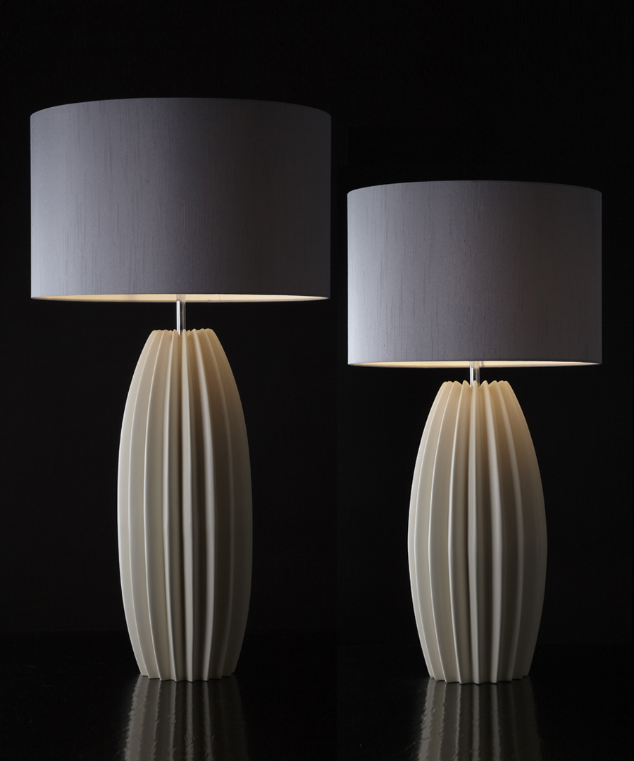 Galileo table light, pair of ceramic table lamps, tall and short version, with distinctive fluted form with gunmetal shades - Chad Lighting