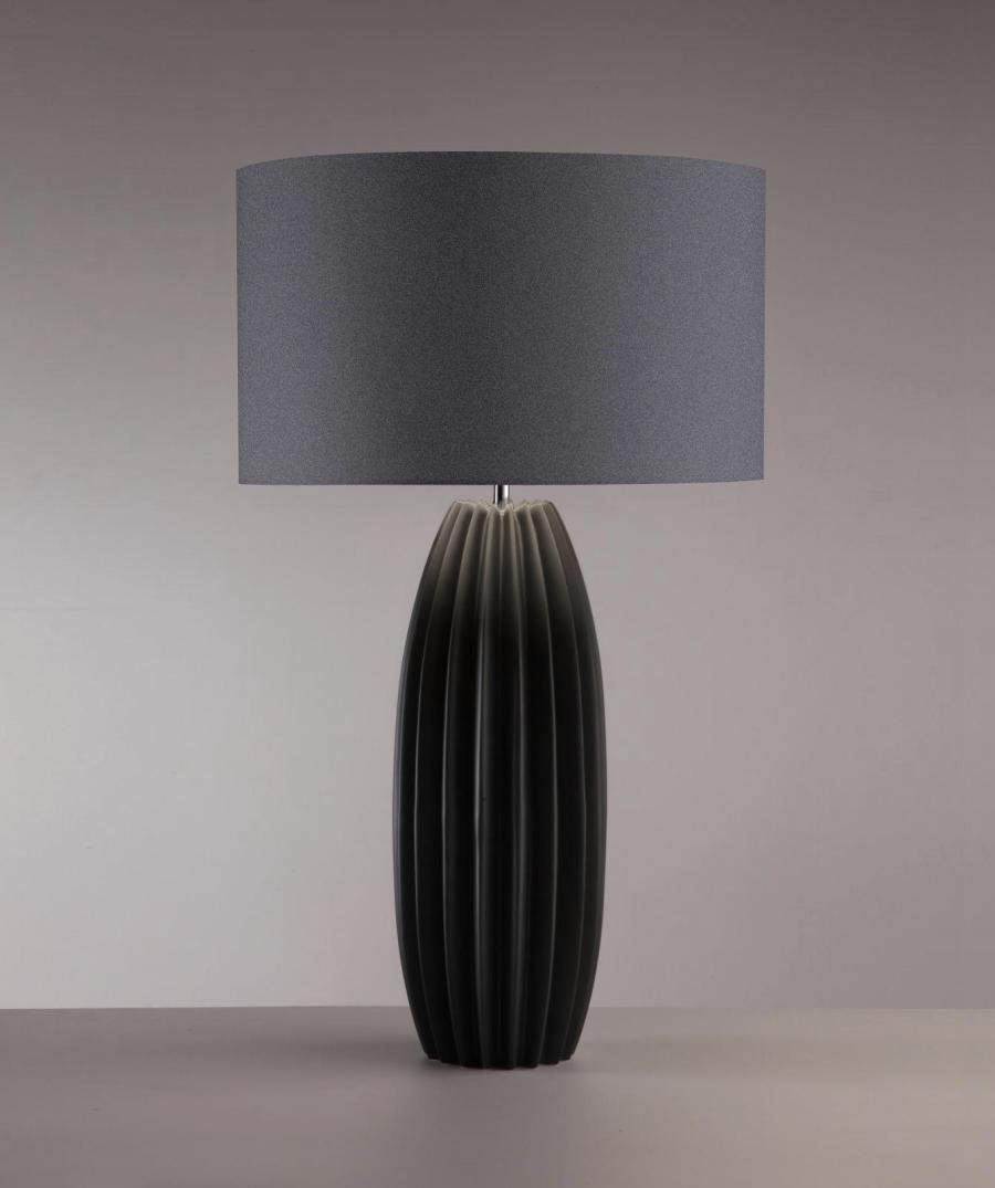 Galileo table light, tall ceramic table lamp, graphite version, with distinctive fluted form - Chad Lighting