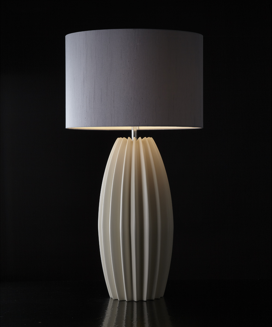 Galileo table light, ceramic table lamp with distinctive fluted form, this is the shorter version, with gunmetal shade - Chad Lighting