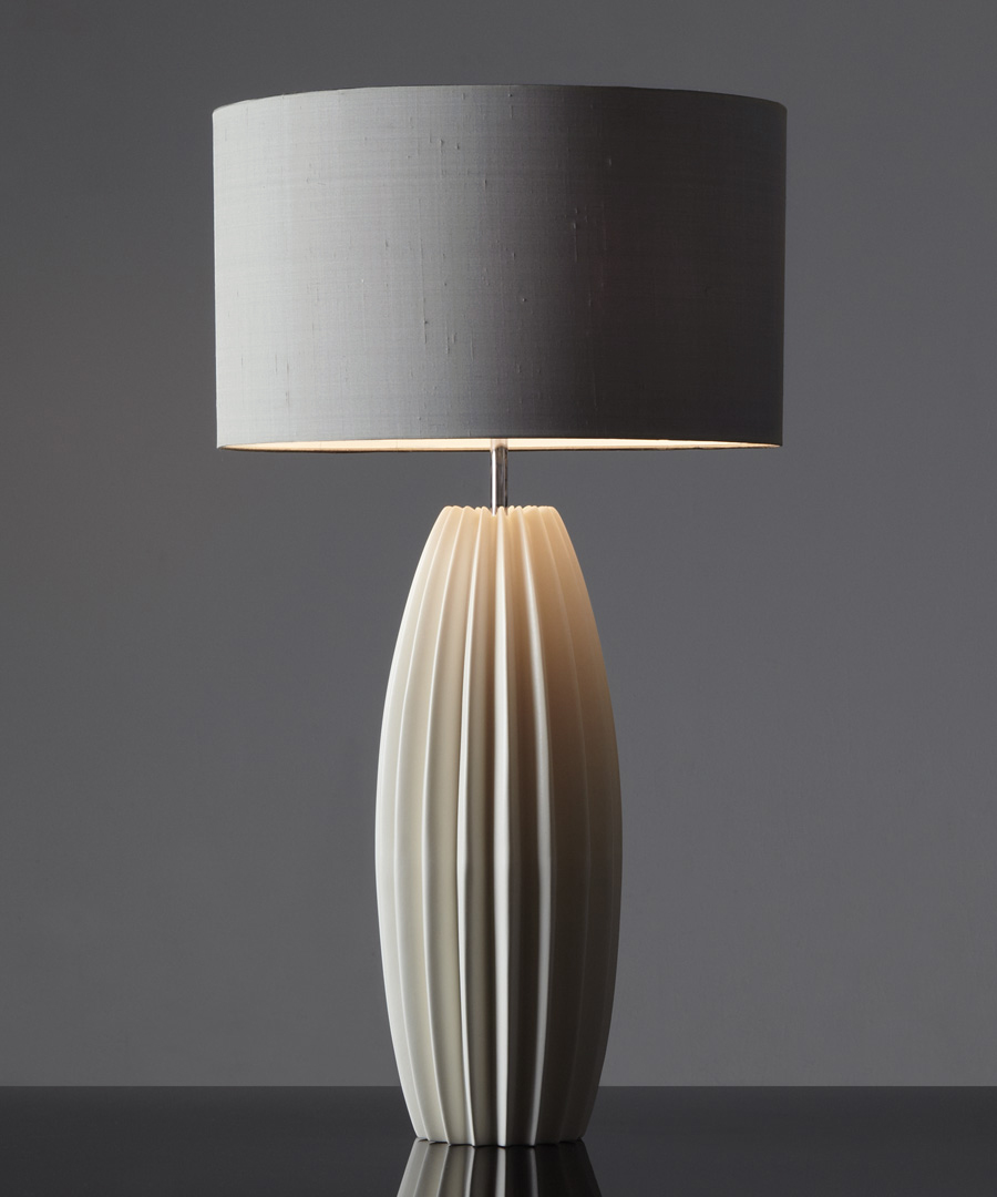 Galileo table light, tall ceramic table lamp with distinctive fluted form with grey shade - Chad Lighting