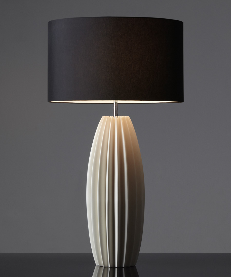 Galileo table light, tall ceramic table lamp with distinctive fluted form with black shade - Chad Lighting