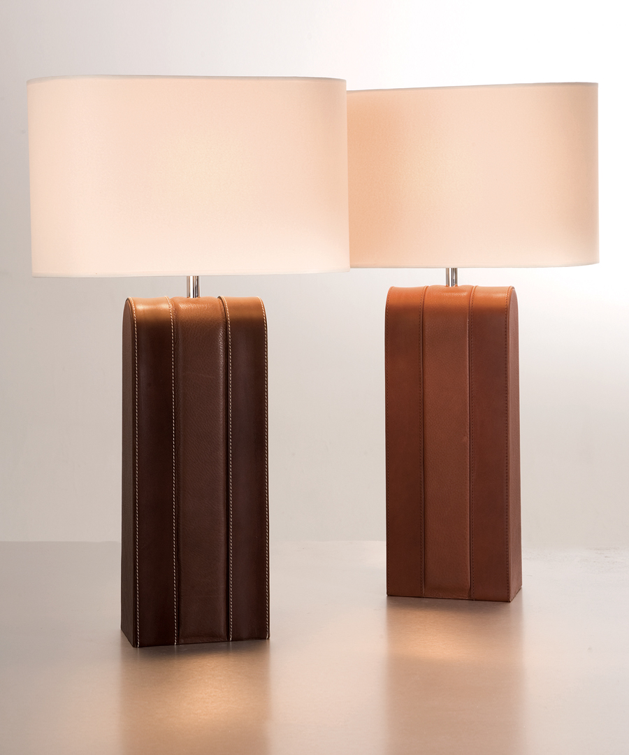Harness table light, high quality leather table lamp, stitched and padded - Chad Lighting