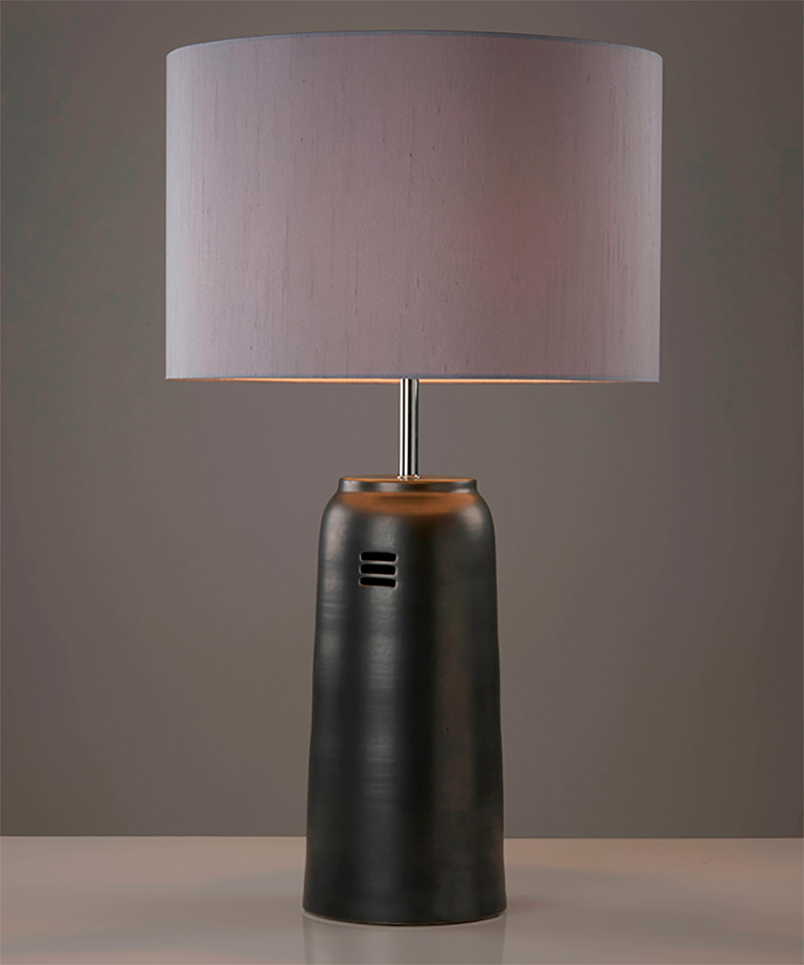 Kaminos table light, ceramic table lamp with 3 slot incision, graphite with gunmetal shade - Chad Lighting