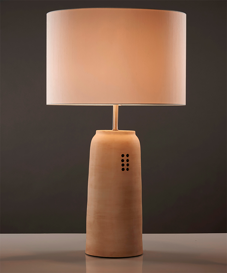Kaminos table light, ceramic table lamp with 8 hole incision, sand with cream shade - Chad Lighting