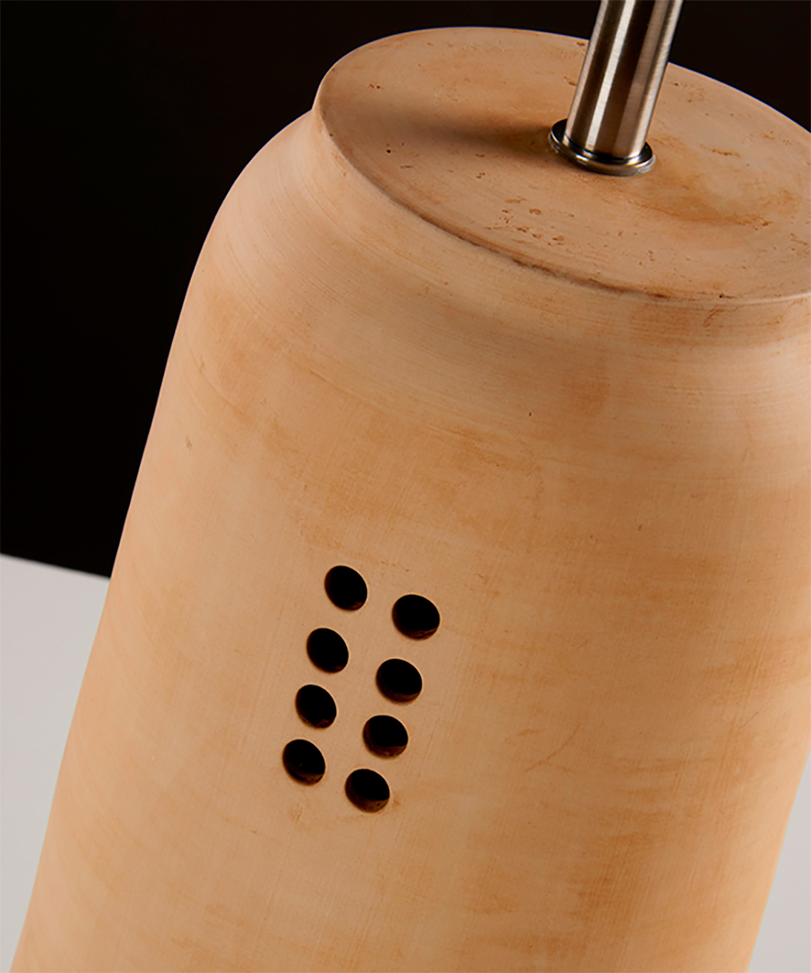Kaminos table light, ceramic table lamp, close up of 8 hole incision, sand - Chad Lighting